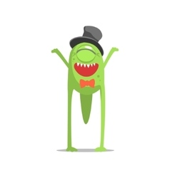 Happy Green One-Eyed Monster In Top Hat And Bow vector image
