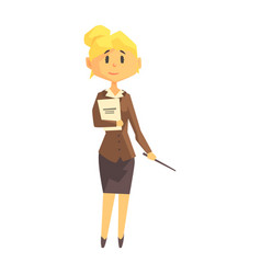 young woman school teacher in classic outfit vector image