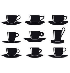 Coffee cup set silhouette vector