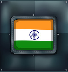 Flag of india on metalic background vector