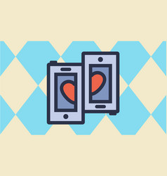 Couple phones and half heart with pastel vector