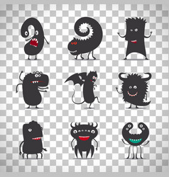 cute black monsters on transparent background vector image