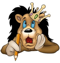 Lion with pencil vector