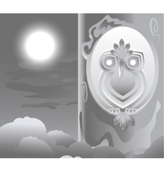 Owl in the hollow night the moon is shining vector