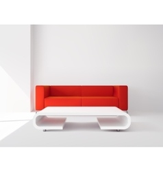 Red sofa and white table interior vector image