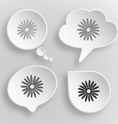Camomile white flat buttons on gray background vector