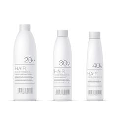 White realistic cosmetics bottle set vector
