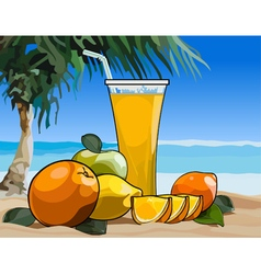 Glass of juice and fruit on the beach vector