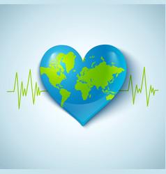 Earth heart vector