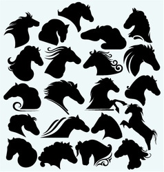 Set icon wild horses vector
