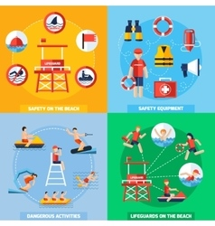 Lifeguard 4 flat icons square composition vector