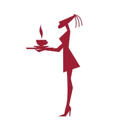 Stylized silhouette of a girl carrying a tray with vector