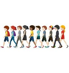 Men and women walking vector image