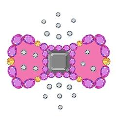 Gemstone asscher cut bow brooch vector image