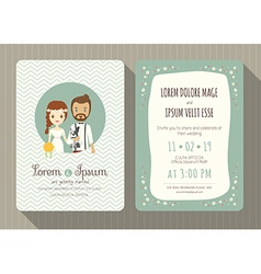 Cartoon wedding invitation card template vector