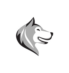 Husky dog head retro vector