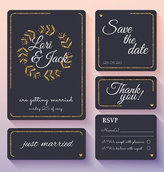 Wedding invitation card set with gold decor thank vector