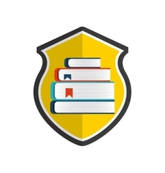 Book and shield icon copyright design vector
