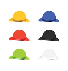 Six colors bowler or derby hat flat style vector