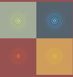 Abstract line ripple emblem set radar sound or vector