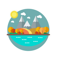 Autumn landscape with mountains in the flat style vector