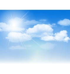 Blue sky with clouds and sun vector image