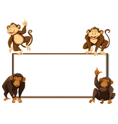 border template with four monkeys vector image