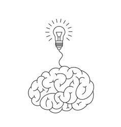 Brain and light bulb vector