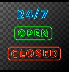 bright realistic neon open and closed sign vector image vector image