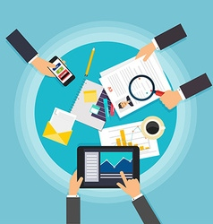 Business teamwork Creative team desktop top view vector image