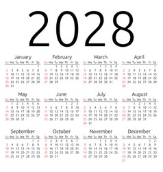 Calendar 2028 sunday vector