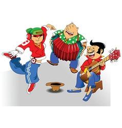 Cartoon street magicians with dancer vector image vector image