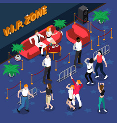 Celebrities in nightclub isometric vector