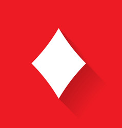 diamond poker suit symbol white sign on red vector image vector image