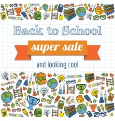Doodle back to school super sale poster vector image