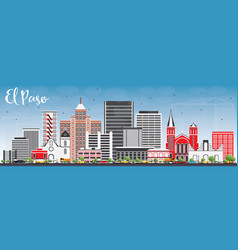 El paso skyline with gray buildings and blue sky vector