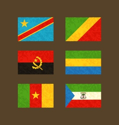 Flags of Congo Angola Cameroon Gabon vector image