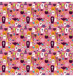 Flat Halloween Holiday Items Seamless Pattern vector image vector image