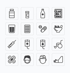 Flat icons set of medical health care outline vector