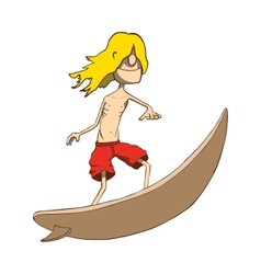 Funny skinny blonde surfer Hand drawn vector image
