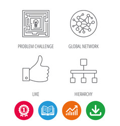 Global network like and hierarchy icons vector