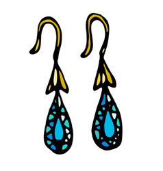 gold jewellery earrings with blue or turquoise vector image vector image