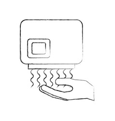 hand dryer automatic clean equipment icon vector image