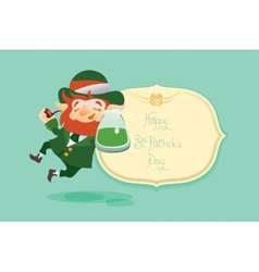 Happy Saint Patrick Day gratters Leprechaun vector image
