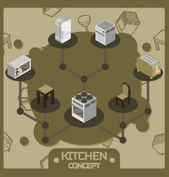 Kitchen color isometric concept icons set vector