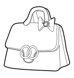 Lady handbag icon outline vector