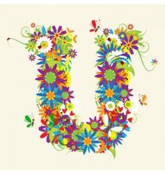 letter U floral design vector image vector image