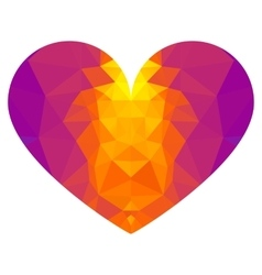 low poly lilac heart vector image vector image