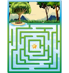 Maze game with nature background vector