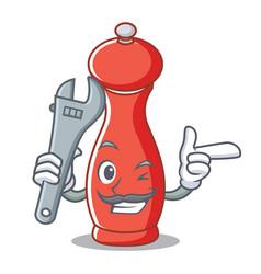 Mechanic pepper mill character cartoon vector